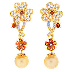 "Gem Treasures® 2"" 10-11mm Golden South Sea Cultured Pearl & Gemstone Drop Earrings"