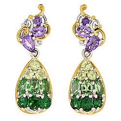 "Gems en Vogue Final Cut 1"" 2.54ctw Amethyst, Tsavorite & Gem Drop Earrings"