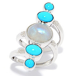 Gem Insider® Sterling Silver Rainbow Moonstone & Sleeping Beauty Turquoise Ring