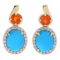 Gem Insider® 14K Gold Sleeping Beauty Turquoise, Fire Opal & Diamond Earrings
