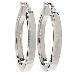 "Sorrento Italian Silver 1"" or 2"" Polished Hoop Earrings"