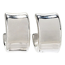 Sorrento Italian Silver Electroform Wide J-Hoop Earrings