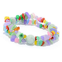 Kwan Collections Multi Color Jade 2-Strand Beaded Stretch Bracelet