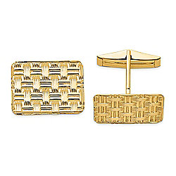 Gold Standard Jewelry Company Men's 14K Gold Woven Style Cuff Links
