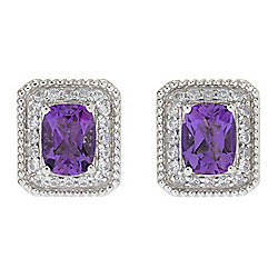 Dallas Prince Sterling Silver 3.34ctw African Amethyst & Gem Halo Stud Earrings