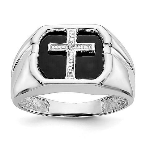 eddcfcf645a16 Gold Standard Jewelry Company Men's 14K Gold Onyx & Diamond Cross Ring