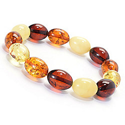 Bracelets - 182-535 Gemporia 6.25 15 x 10mm Oval Baltic Amber Beaded Stretch Bracelet - 182-535