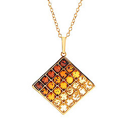 Pendants - 182-537 Gemporia Ombre Shades of Baltic Amber Square Cluster Pendant w Chain - 182-537