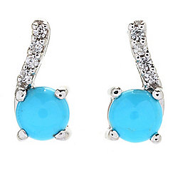 Gemporia Sterling Silver Sleeping Beauty Turquoise & White Zircon Earrings