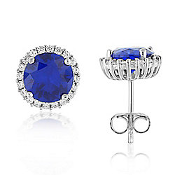 e8645a691 Brilliante® Sterling Silver White, Yellow or Blue 4.40 DEW Simulated Diamond  Halo Stud Earrings