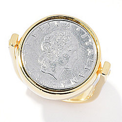 Toscana Italiana 18K Gold Embraced™ Reversible Genuine Lira Coin Ring