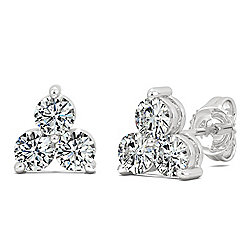 a6e10575e87417 Moissanite by Charles & Colvard Sterling Silver 0.96 DEW 3-Stone Cluster Stud  Earrings