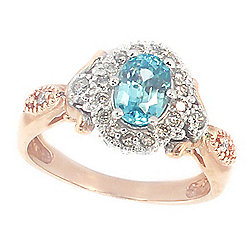 Gems en Vogue at ShopHQ | 182-762 Gems en Vogue The Vault 14K Rose Gold 1.51ctw Blue Zircon & Diamond Ring - 182-762