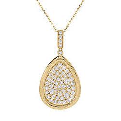 Pendants - 182-795 Gems of Distinction™ 14K Gold 1.02ctw Diamond Pear Shaped Pendant w 16 Chain & 2 Extender - 182-795