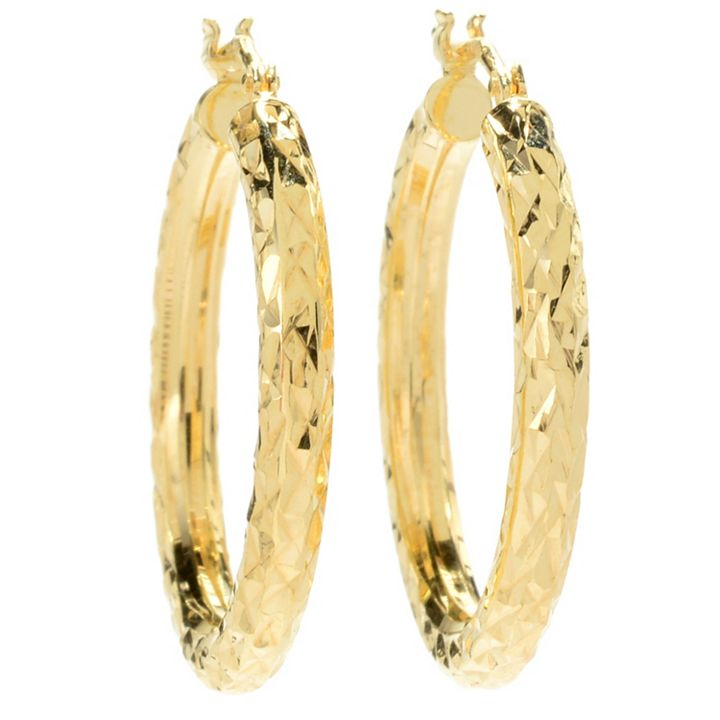 Stefano Oro From the Heart of Italy - 182-799 Stefano Oro 14K Gold Tubing Choice of Size Diamond Cut Hoop Earrings