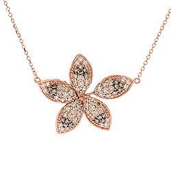 Necklaces - Prism Love Me Not 14K Rose Gold 0.95ctw Australian Diamond Flower Necklace - 182-869