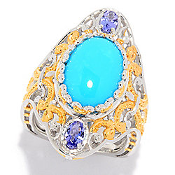 Gems en Vogue 15 x 10mm Sleeping Beauty Turquoise & Tanzanite North-South Ring