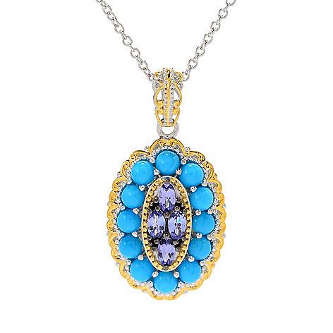 30c6fb255 183-008- Gems en Vogue Tanzanite & Sleeping Beauty Turquoise Halo Pendant w/
