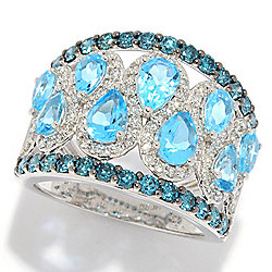 Gems of Distinction™ 14K White Gold 4.29ctw Multi Color Diamond & Blue Topaz Tapered Band Ring