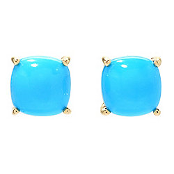 Gemporia 14K Gold Sleeping Beauty Turquoise Cushion Stud Earrings