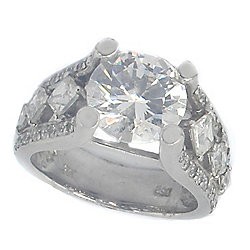 7d6198af4 Valitutti Star Cut Sterling Silver 10.24 DEW Simulated Diamond Ring