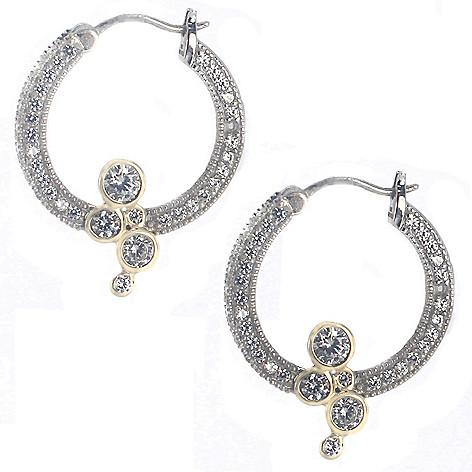 c54803722 183-155- Valitutti Star Cut Sterling Silver 4.58 DEW Simulated Diamond Hoop  Drop Earrings