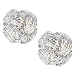 3f5f68f10 Valitutti Star Cut Sterling Silver Simulated Diamond Knot Stud Earrings