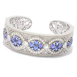 Dallas Prince Designs 183-223 Dallas Prince Sterling Silver 11.92ctw Tanzanite & White Zircon Cuff Bracelet - 183-223