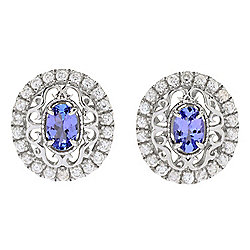 Dallas Prince Sterling Silver 1.56ctw Tanzanite & White Zircon Stud Earrings