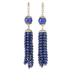 "Gems en Vogue Final Cut 3.25"" 10mm Lapis Lazuli Beaded Tassel Dangle Earrings"