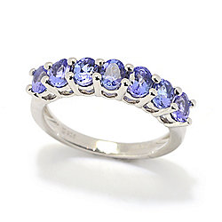 Gemporia Sterling Silver Tanzanite 7-Stone Band Ring