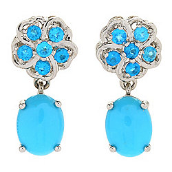 Gemporia 9 x 7mm Sleeping Beauty Turquoise & Neon Apatite Drop Earrings