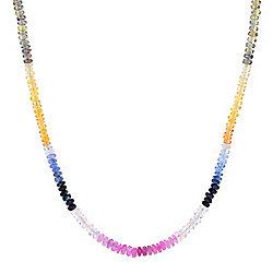 183-287 Gemporia 18 Multi Color Sapphire Beaded Necklace w 2 Extender - 183-287