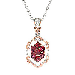Spinel - Ft. Red Spinel at ShopHQ - 183-302 Gems en Vogue Final Cut 1.47ctw Burmese Red Spinel Cluster Pendant w 18 Cable Chain - 183-302