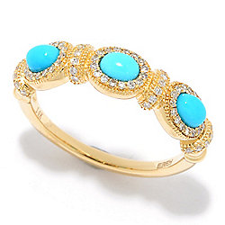 EFFY 14K Gold Sleeping Beauty Turquoise & Diamond Stack Ring
