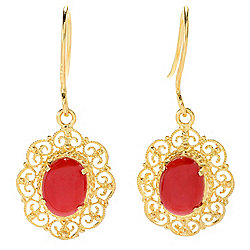 earrings 183-426 Italian 14K Gold 8 x 6mm Natural Coral Filigree Drop Earrings - 183-426