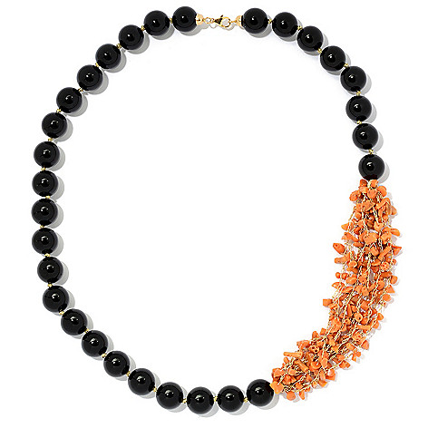 "Italian_14K_Gold 24""_Natural_Coral &_Gemstone Beaded_Necklace"