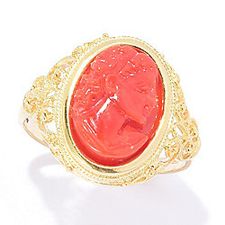 14K Italian Gold 14 x 10mm Natural Coral Cameo Filigree Ring