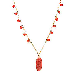 "14K Italian Gold 18"" Natural Coral Bead & Cameo Necklace"