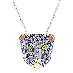 "Gems en Vogue 4.04ctw Tanzanite & Chrome Diopside Panther Pendant w/ 18"" Cable Chain"
