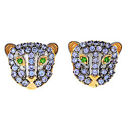 Gems en Vogue 2.44ctw Tanzanite & Chrome Diopside Panther Earrings