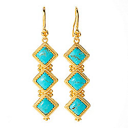 "Gem Insider® 2.25"" Kingman Turquoise 3-Stone Drop Earrings"
