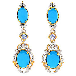"Gems en Vogue 1"" Sleeping Beauty Turquoise & Tanzanite Drop Earrings"