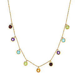 "EFFY 14K Gold 20"" 2.26ctw Multi Gemstone Dangle Station Necklace"
