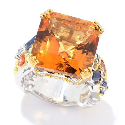 Eye-Catching Citrine Jewelry Up to 40% OFF - 183-625 Gems en Vogue 11.46ctw Bolivian Fire Citrine & Multi Gemstone Cocktail Ring183-625