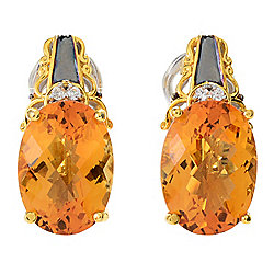 Gems en Vogue 11.59ctw Oval Bolivian Fire Citrine & White Zircon Earrings