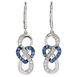 "Gem Treasures® 1.5"" Ceylon Blue Sapphire & White Zircon Infinity Heart Earrings"