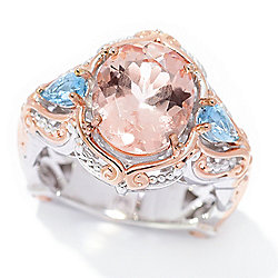 Gems en Vogue 1.90ctw Oval Morganite & Tanzanian Aquamarine Ring