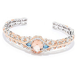 "Gems en Vogue 7"" 4.68ctw Oval Morganite & Gemstone Cuff Bracelet"