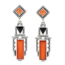 "Nicky Butler Sterling Silver 1.75"" Carnelian & Gemstone Drop Earrings"